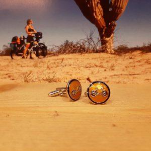 Manchetknoop fiets geel