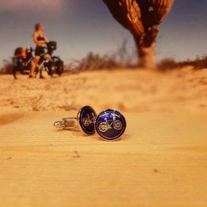 Manchetknoop fiets blauw set